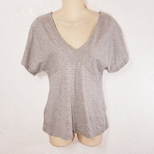 LOFT Ann Taylor Blouse Small Silver Striped L10